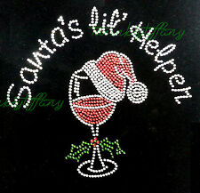 """Rhinestone Iron on Transfer Hot Fix Bling """"Bling Christmas wine with hat"""""""