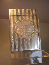 Solid silver card case with guilloche engraved silver stripes & scene