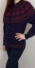 Vintage Hand Knitted Icelandic Norwegian Style Wool Cardigan S Made In Norway