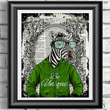 ART PRINT ON ORIGINAL OLD BOOK PAGE Zebra Hipster Animal Antique DICTIONARY