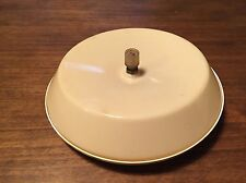 Complete 1970s vintage round ceiling light Airstream back plate cover knob 9 in