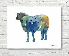 Blue Sheep Abstract Watercolor Painting Art Print by Artist DJ Rogers