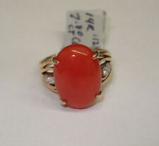 LADIES 14K YELLOW GOLD RED CORAL DIAMOND RING SIZE 6 1/4