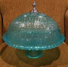 New Azzurra Glass Covered Domed Cake Stand Light Blue