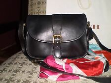 RARE Vintage LEATHERWARE COACH Lightweight Black Crossover Satchel Bag 9103 USA