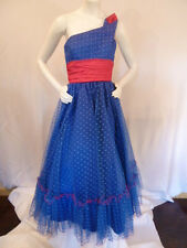Vintage MCM Mike Benet Rockabilly Prom Blue Retro Bombshell Gown Dress S Small