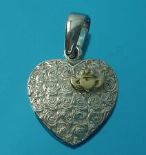 Solid 925 Sterling Silver Celtic Pendant with Gold Vermeil Claddagh Love Heart