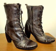 ALL SAINTS Brown Distressed Leather Vintage Military Style Boots Size 39 UK 6
