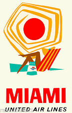 Miami Florida Air United States America Vintage Travel Advertisement Poster 2