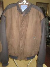 MENS FACONNABLE LEATHER & WOOL BOMBER JACKET, SZ L LQQK!!