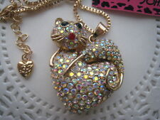 """BETSEY JOHNSON AB CRYSTAL CAT ON AB CRYSTAL HEART NECKLACE  28""""  # 342"""
