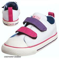 KIDS Infants Boy Girl CONVERSE All Star WHITE VELCRO 3V Trainers Shoes UK SIZE 9