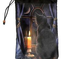 Lisa Parker Artwork Midnight Vigil Black Cat Silk Drawstring Tarot Bag