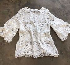 New ANTHROPOLOGIE White Eyelet Lace Detail Crochet Bohemian Top Blouse MEDIUM