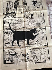 VINTAGE IRISH LINEN PUSS IN BOOTS WOOD CUT TEA TOWEL BRITISH MUSEUM