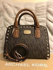 NWT MICHAEL MICHAEL KORS MK SIGNATURE SAFFIANO STUD SM SATCHEL BAG IN BROWN/LUGG