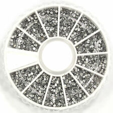 2400X Nail Art 1.5mm Rhinestones Glitter Crystal Gems 3D Tips Decoration Wheel
