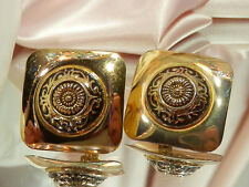 XX Beautiful Vintage 1980s Etruscan Repousse Padded Clip Earrings  506B