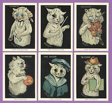 CATS - CRYSTAL CAT CARDS - SET  OF  6  LOUIS  WAIN  CAT  CARDS  -  CATS IN BLACK