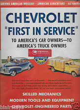 CHEVROLET 1944 FIRST IN SERVICE FOR AUTO & TRUCK USA OWNERS SKILLED MECHANICS AD