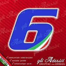 Adesivo Stickers NUMERO 6 moto auto cross gara Blu & Tricolore 5 cm