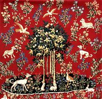 "MILANI TREE OF LIFE ANIMALS COTTON TAPESTRY CUSHION COVER 19"" RED"
