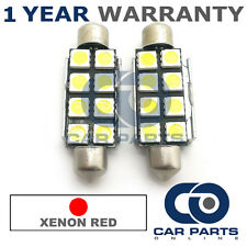 2X RED CANBUS NUMBER PLATE INTERIOR 8 SUPER BRIGHT SMD LED BULBS 44MM 15RX2