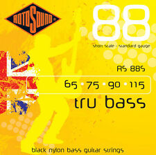 Rotosound RS88S Black Nylon Tru Bass Short Scale Flatwound Electric Bass Strings