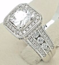 Women's Ladies Solid 925 Sterling Silver Solitaire Princess Bridal Promise Ring