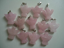 Rose Quartz Angel 23mm Healing Crystal Pendant