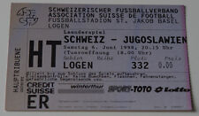 Ticket for collectors * Switzerland - Yugoslavia 1998 in Basel (Serbia)