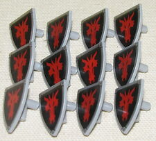 LEGO LOT OF 12 NEW CASTLE KINGDOMS SHIELDS WITH RED DRAGON PATTERN
