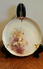 JEAN POUYAT Limoges CABINET PLATE JPL Hand Painted  Gold Trim Purple Flowers