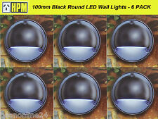6 Pack 100mm Round LED Wall Lights Black - 12V Safe Low Voltage