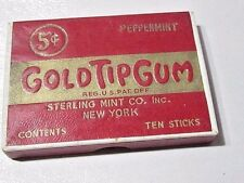 ADVERTISING EMPTY GOLD TIP GUM STERLING MINT CO NY CIGARETTE FORM PEPPERMINT