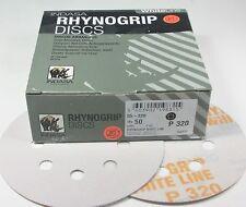 """5"""" 320 Grit Hook & Loop Sandpaper Discs 8 Hole Rhynogrip WhiteLine Indasa 55-320"""