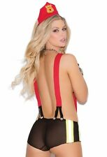 Sexy Firefighter Costume Lingerie Women Red Black Suspender Booty Short Roleplay