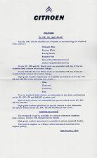 Citroen ID DW DS Colours & Trims 1963-64 UK Market Leaflet Brochure