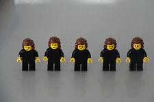 FIVE LEGO MINI FIGURES WITH HERMIONE GRANGER STYLE HAIR.