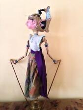 ANTIQUE WAYANG GOLEK STICK PUPPET INDONESIA, BALI, JAVA DANCING DOLL SIGNED