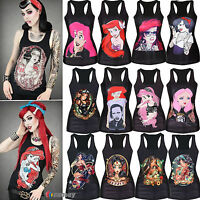 Womens Sleeveless Vest Tank Tops Blouse Gothic Punk Shirts Cami Party Clubwear