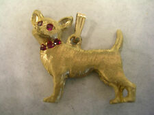 CHIHUAHUA PENDANT CHARM WITH RUBY RED STONES IN GOLD TONED BRASS