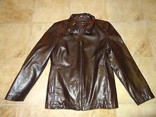 WOMENS SIZE LARGE BROWN LEATHER COAT BY A & S SELECTIONS