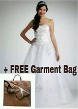 NEW David's Bridal Petite Strapless Tulle Ball Gown Wedding w FREE BAG Size 4P