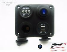 3.1 Amp USB Charger + Voltmeter +12V Socket + Switch Panel Outlet Jack Wires