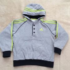 ADIDAS Grey Lime Green Stripes Boys Kids Popper Hoodie thick Size UK 7-8 years