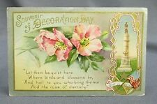 Old Patriotic 4th of July Postcard - Souvenir Decoration Day Soldiers Monument