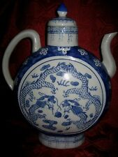 Large Qianlong  Chinese  Blue and White Moon Flask Teapot