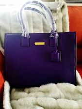 JOY & IMAN LEATHER HOLLYWORD GLAMOUR HANDBAG TOTE - 1  PURPLE AND 1  ESPRESSO