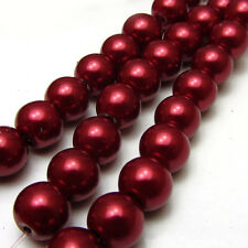 New 8MM 30pcs Charm Round  Beads Glass Spacer Pearls Wine Red Color